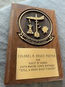 Ww2 Marine Corps Fighter Ace Colonel Bruce Porter Guest Of Honor Plaque Pt Mugu