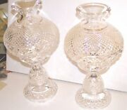 Waterford Crystal Hurricane Table Lamps Master Cutter Collection 1973 Org Owner
