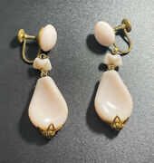 Vintage Western Germany Pink Lucite Clip Earrings Dangle Drop Gold Tone