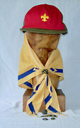 Cub Scout Scarf, Pins, Slides, Wolf Neckerchief And Red Boy Scout Hat