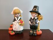 Vintage Boy And Girl Pilgrim Figurines Thanksgiving Hand Painted 1977