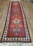 Antique Oriental Runner Rug 3x11 Ft Tribal Hand-knotted Red Wool 3and039 3 X 10and039 11