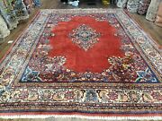 Semi Antique Red Oriental Rug Central Medallion Hand Knotted Wool 9x12 Carpet