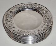 Antique Kirk And Son Sterling Silver Repousse Bread And Butter Plates 12 Piece Set