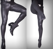 Men Pu Leather Pants Stretchy Skinny Pantyhose Slim Footed Tights Trousers