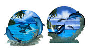 """Hamilton Collection Graceful Duet"""" And """"journey Home"""" 3d Dolphin Plates"""