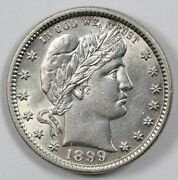 1899 Barber Silver Early Us Quarter 25c