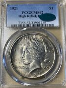 1921 Pcgs/cac Ms62 High Relief Peace Silver Dollar