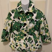 Newdirections Women's Button Floral 3/4 Length Sleeve Jacket Blazer Multicolor M