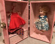 """Vintage Pink And White Metal Wardrobe Trunk Vogue Ginny Doll Case And 7.5"""" Doll"""