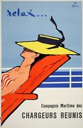 Rene Gruau Original Vintage French Poster 1961 - Relax For Chargeurs Randeacuteunis