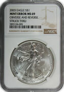 2003 1 Oz American Silver Eagle Coin Ngc Mint Error Ms-69 - Obverse And Reverse