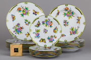 Brand New Herend Queen Victoria Plate Set For Six People 18 Pieces