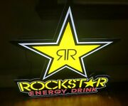 """Rockstar Energy Drink Led Light Up Bright Neon Sign 30"""" Tall X 28"""" Wide Mancave"""