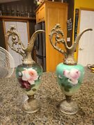 Gorgeous Victorian Ewer Urns Pair Hand Painted Flowers Cast Metal Base And Top