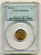 1954 S Lincoln Wheat Cent Ms66 Red Pcgs
