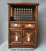 20.2 Old China Huanghuali Wood Inlay Shell Flower Drawer Cupboard Cabinet Shelf