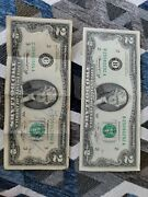 Rare 1976 Green Seal Two 2 Dollar Bill Old Paper Money