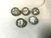 5 Vintage Buttons Silver Tone 3/4 Large Clear Glass Stone Center And Small Around