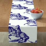 Table Runner Knights Blue Antique Knight Horse Hume Fogg Mascot Cotton Sateen