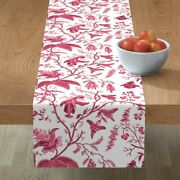 Table Runner Oriental Chinese Pink Asian Chinoiserie Cotton Sateen