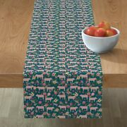 Table Runner Pig Show Hog Bbq Country Pigs Floral Florals Farm Cotton Sateen