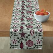 Table Runner Holiday Ornaments Christmas Tree Winter Decorations Cotton Sateen
