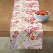Table Runner Oriental Dragons Mythical Watercolor Botanical Floral Cotton Sateen