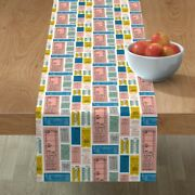 Table Runner Tickets Ticket Retro Letters Train Travel Subway Cotton Sateen