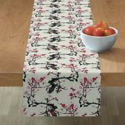 Table Runner Oriental Chinese Plum Cherry Pink Black Asiatic Cotton Sateen