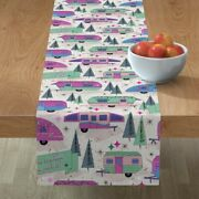 Table Runner Mod Camping Campers Travel Retro Style Road Trip Cotton Sateen