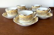 Antique 1900and039s Limoges France Tea Cup Set For 5 T And V Hand Painted Daisy Flowers