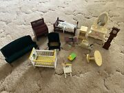 Vintage Wooden Doll House Furniture Lot Very Old Read Description