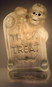 28 Halloween Lighted Blow Mold Trick Or Treat Tombstone Grave Skeleton And Bat
