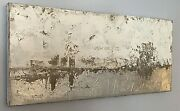 Beautiful Silver Contemporary Modern Abstract Oil Painting By Sarah Brooke T