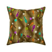 Bowling Mod Brown Star Sparkle Throw Pillow Cover W Optional Insert By Roostery