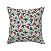 Rockabilly Birds Nautical Stars Throw Pillow Cover W Optional Insert By Roostery