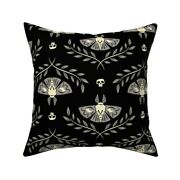 Moth Halloween Skull October Throw Pillow Cover W Optional Insert By Roostery