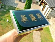 Art Deco Spain Sterling Silver Green Enamel / Gold Poker Playing Cards Box