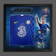 Mason Mount Signed Chelsea Fc Football Shirt In Framed Picture Mount Display