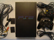 Sony Playstation 2 Console Ps2 Fat 2 Controllers 2 Memory Cards