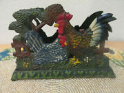 Vintage Cast Iron Napkin Letter Holder Rooster Hen Double Sided Hand Painted