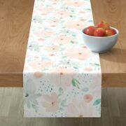 Table Runner Soft Pastel Floral Large Scale Flowers Feminine Cotton Sateen