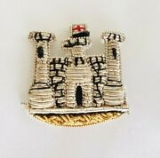 Bullion Wire Gold And Silver Cloth Patch Badge Castle England Flag