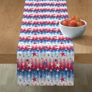 Table Runner Stars And Stripes Patriotic Red White Blue Cotton Sateen