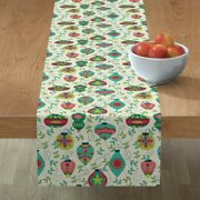 Table Runner Holiday Christmas Ornaments Decorations Ornament Cotton Sateen
