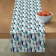 Table Runner Surfing Nautical Surf Board Water Blue And Mint Beach Cotton Sateen