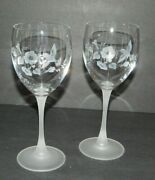 Lot Of 2 Avon Crystal Hummingbird Goblets Frosted Stem