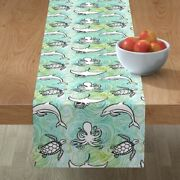Table Runner Under The Sea Watercolor Manta Ray Octopus Turtle Cotton Sateen