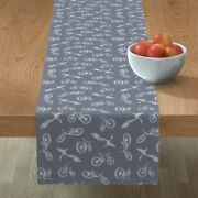 Table Runner X-ray Vehicle Sports Bicycle Wheels Skeleton Cotton Sateen